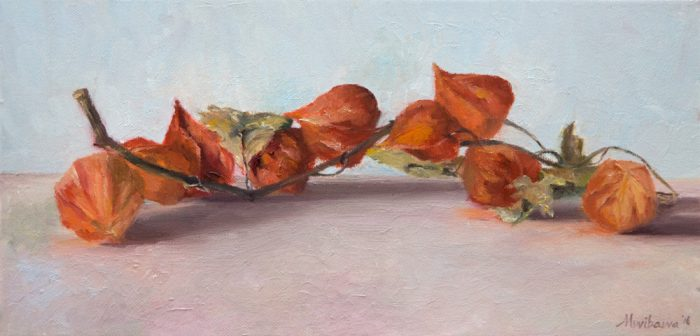 "Stil life, ""Chineselantarn"", 20x40 cm, oil painting on linen"