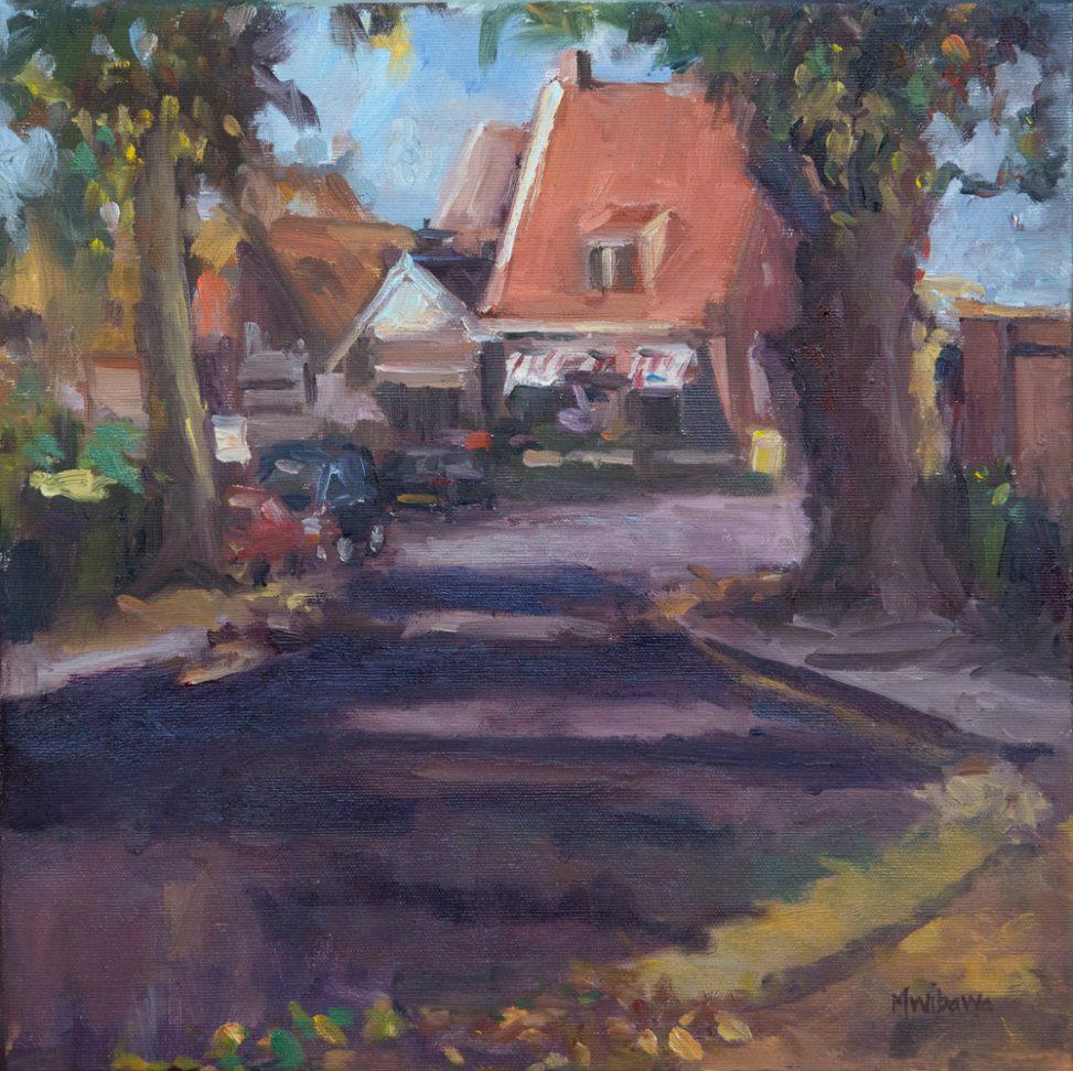 'Kameleondorp', 40×40 cm, Plein air painting in Terherne