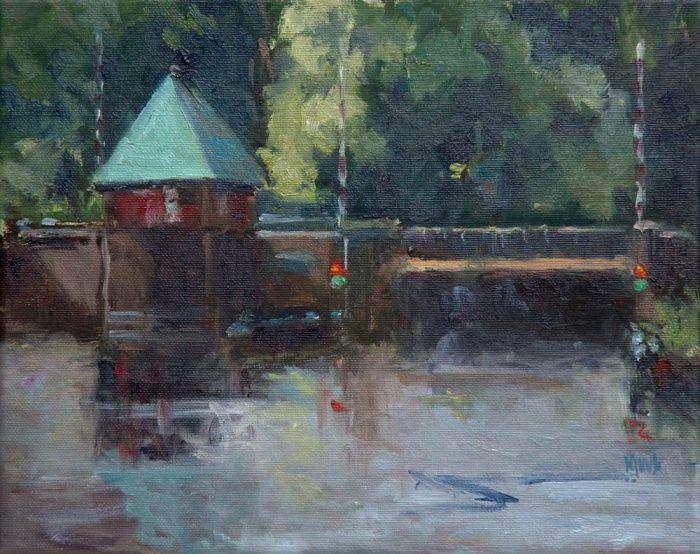 'Bij de brug', 24x30 cm, olieverf op doek