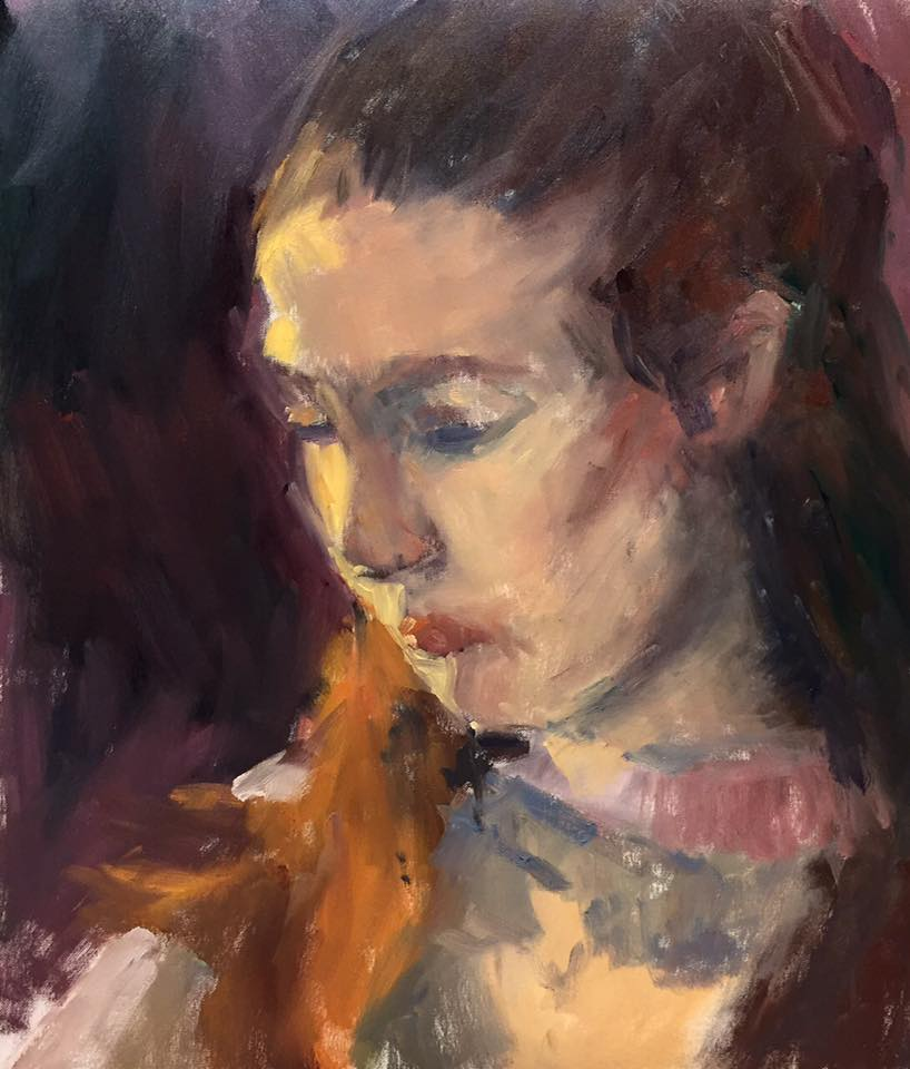 Portrait (study), 50x40 cm, oil painting on paper