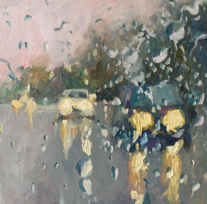 Rain on me (1), olieverf op linnen, 60 x 60 cm