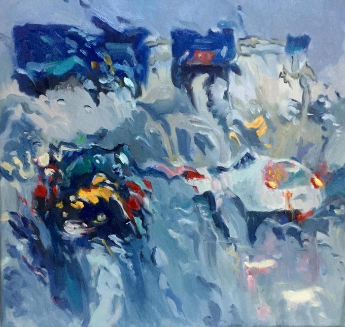20 - Rain on me (2), olieverf op linnen, 60 x 60 cm