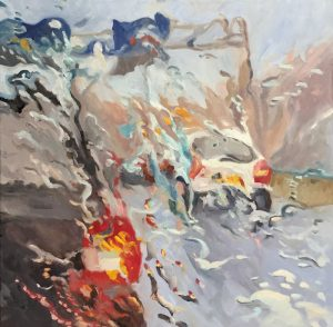 'Rain on me (6)', olieverf op linnen, 80 x 80 cm