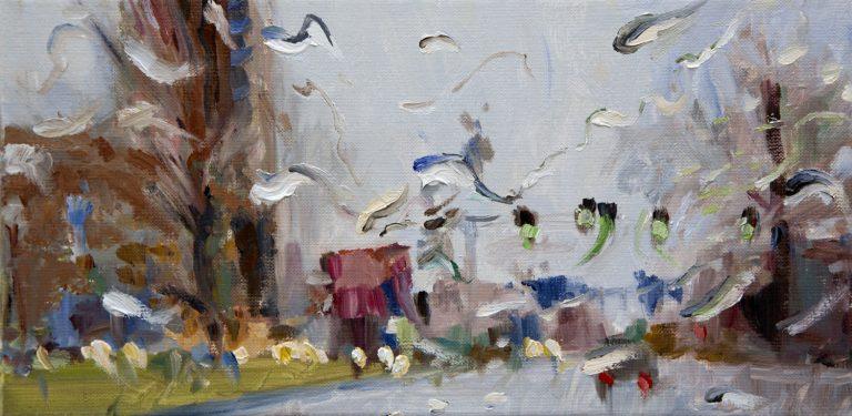 Rain on me (28), olieverf op linnen, 20 x 40 cm, 2019