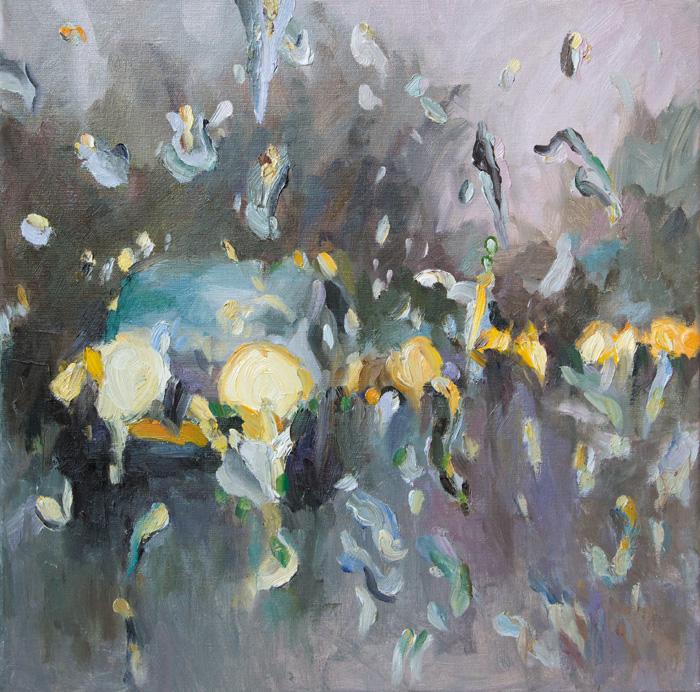 Rain on me (11), olieverf op linnen, 60 x 60 cm