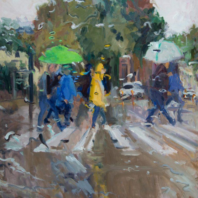 Rain on me (24), olieverf op linnen, 100 x 100 cm, 2019