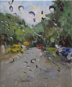 Rain on me (30), olieverf op linnen, 30 x 24 cm, 2019