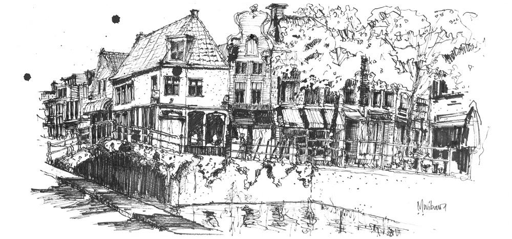 Nieuwestad, Leeuwarden - Kijk naar KleineKerkstraat, 28x60cm