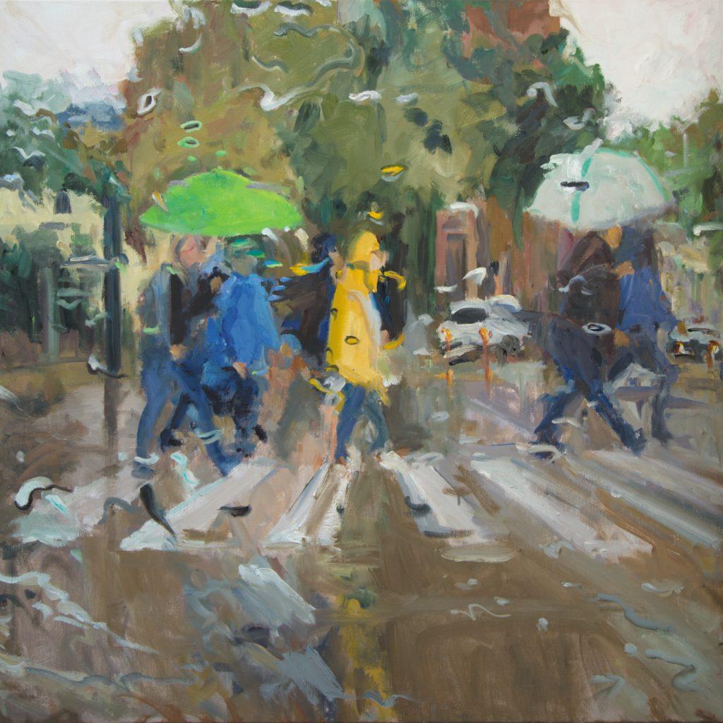 12 - Rain on me 24 - 100 x 100 cm - met houtenlijst