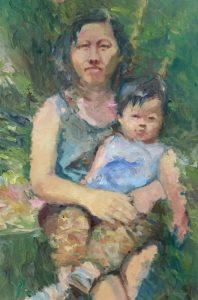 8 - Bij mijn moeder op schot -90 x 60 cm, portret in opdracht - ntk