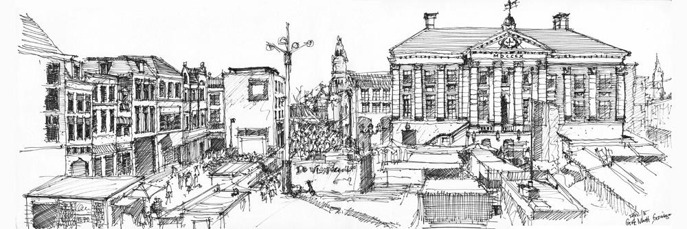Grote markt, Groningen 20x60cm