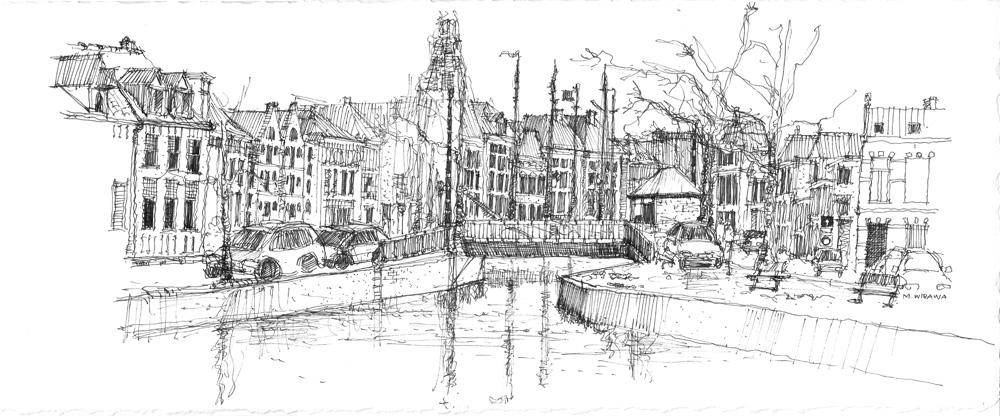 Noorderhaven Kijk naar Visserbrug 25x60 cm