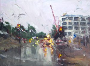 Rain on me (16), olieverf op linnen, 30 x 40 cm, 2018 - Particulier collectie