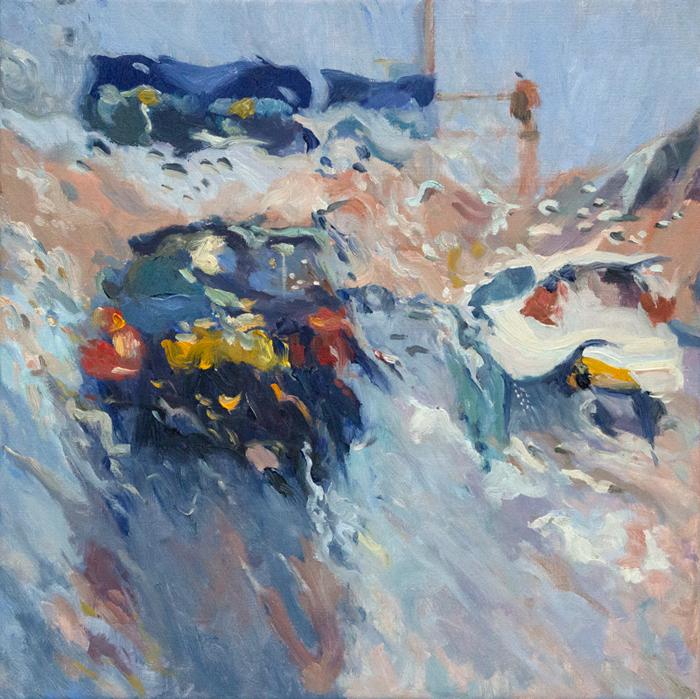 'Rain on me (3)', olieverf op linnen, 60 x 60 cm
