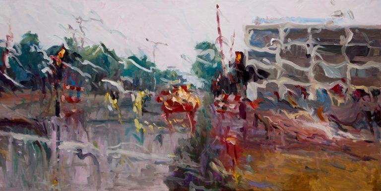 Rain on me (22), olieverf op linnen, 80 x 160 cm, 2019