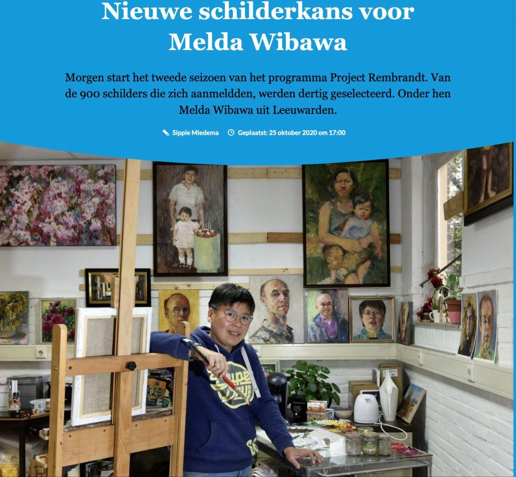 Friesch Dagblad 25/10/2020 - nieuwe schilderkans voor Melda Wibawa